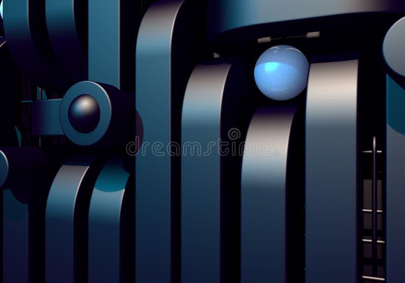 Fundo abstrato com as tubulações quadradas pretas e a bola de metal brilhante ilustração do vetor