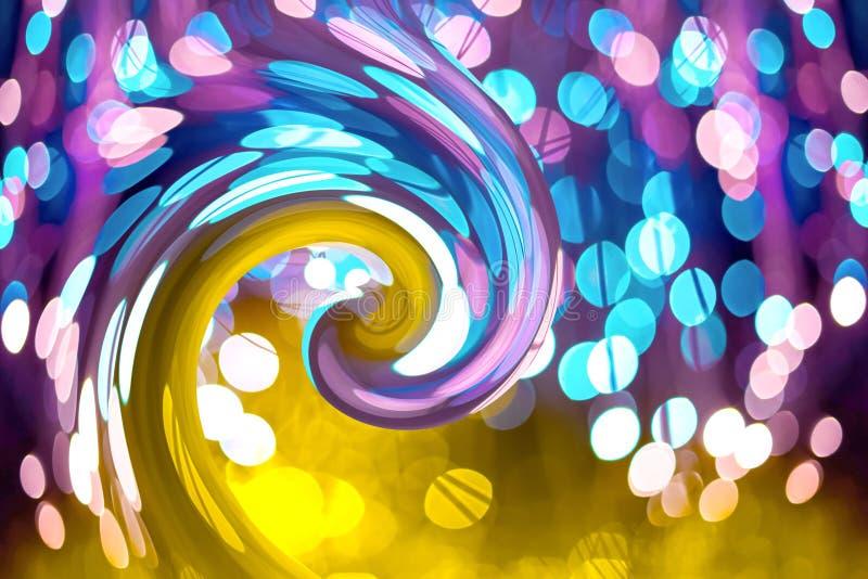 Fundo abstrato com bokeh de néon da textura da fantasia O aniversário e o fundo festivo tendem o ouro do ultravioleta das cores imagem de stock royalty free