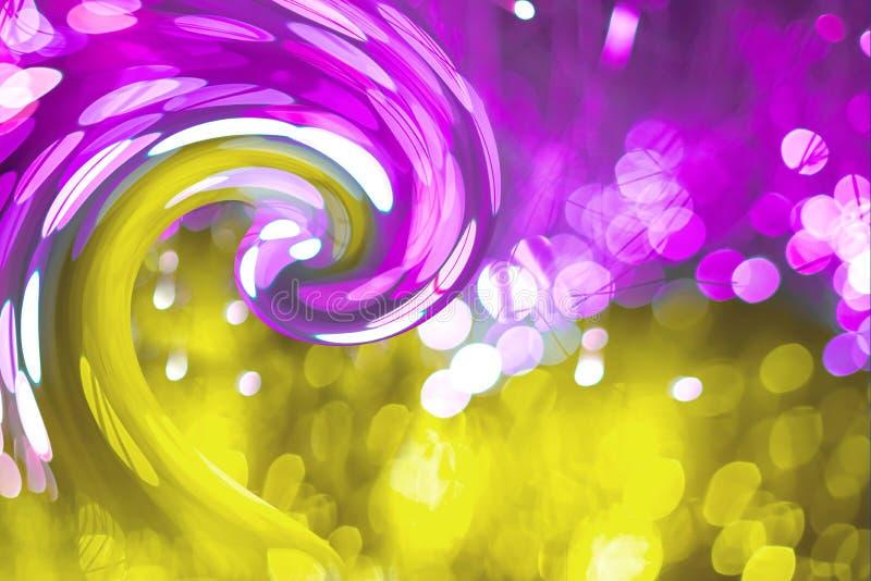 Fundo abstrato com bokeh de néon da textura da fantasia O aniversário e o fundo festivo tendem o ouro do ultravioleta das cores foto de stock royalty free