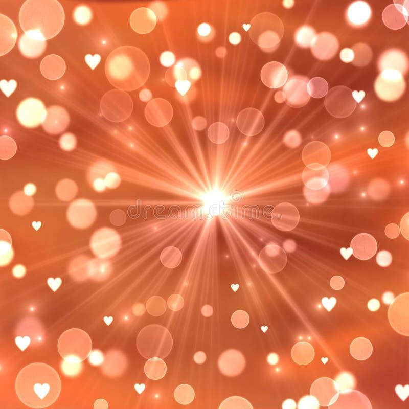 Fundo abstrato com bolhas, luz solar e corações ilustração royalty free