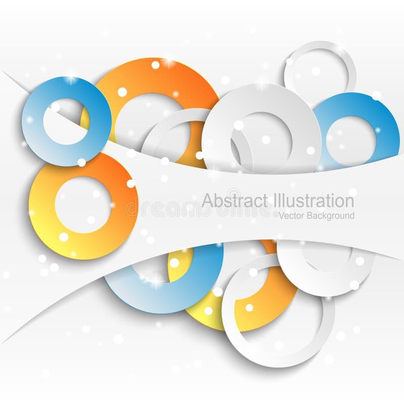 Fundo abstrato com círculos de papel coloridos imagens de stock royalty free
