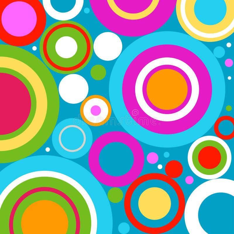 Fundo abstrato com círculos retros ilustração do vetor