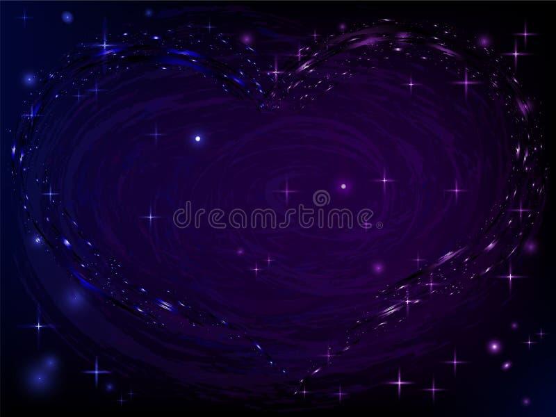 Fundo abstrato com coração da estrela, fundo cósmico do espaço da galáxia do espaço profundo ilustração stock