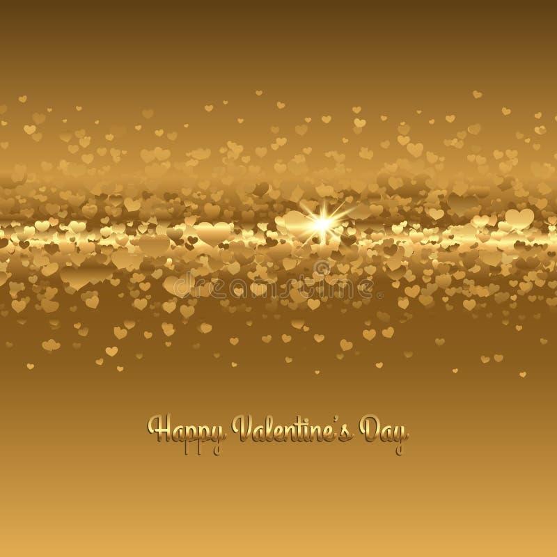 Fundo abstrato com corações do ouro Vetor imagens de stock