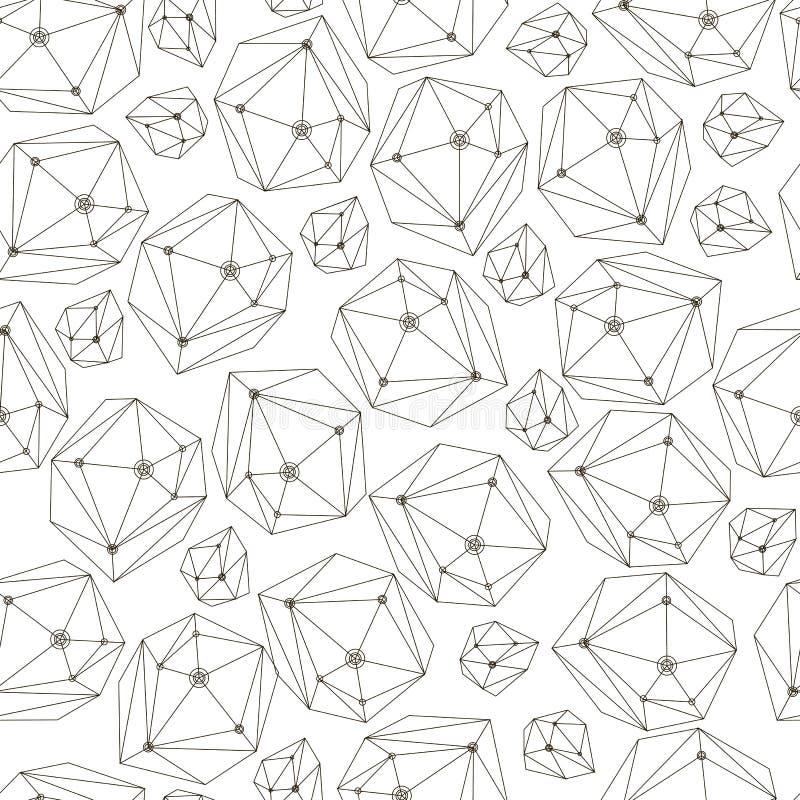 Fundo abstrato com cristais da estrutura Teste padrão sem emenda da geometria para a matéria têxtil, papel de parede, papel de en ilustração do vetor