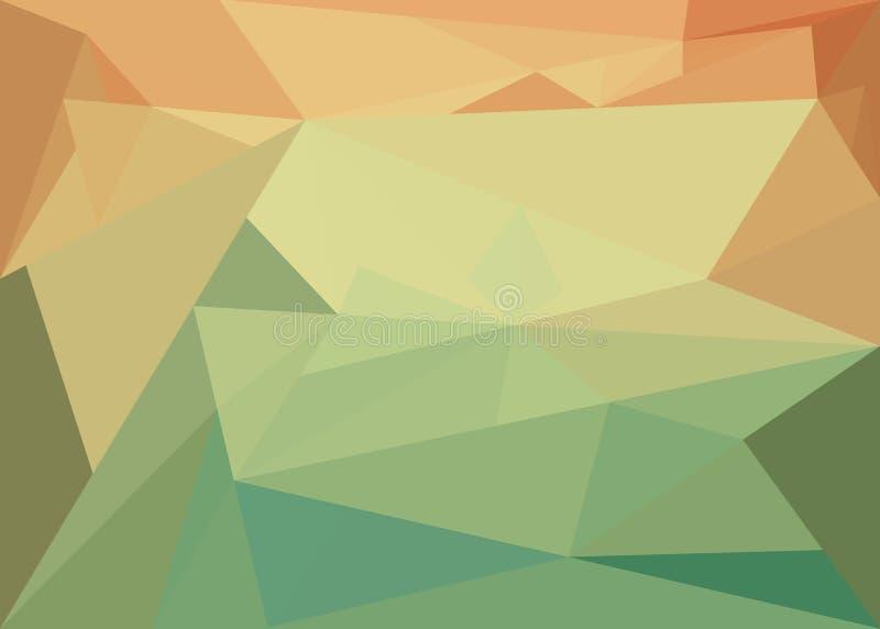 Fundo abstrato com cristal alaranjado-verde ilustração stock