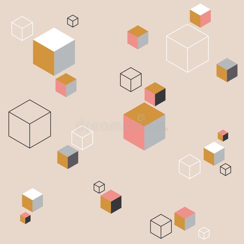 Fundo abstrato com cubos coloridos ilustração do vetor