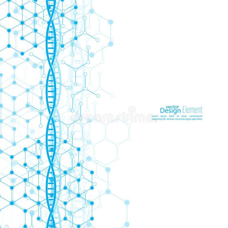 Fundo abstrato com estrutura da molécula do ADN ilustração royalty free