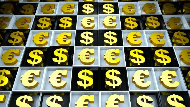 Fundo abstrato com euro- sinal e dólar em cubos preto e branco ilustração stock