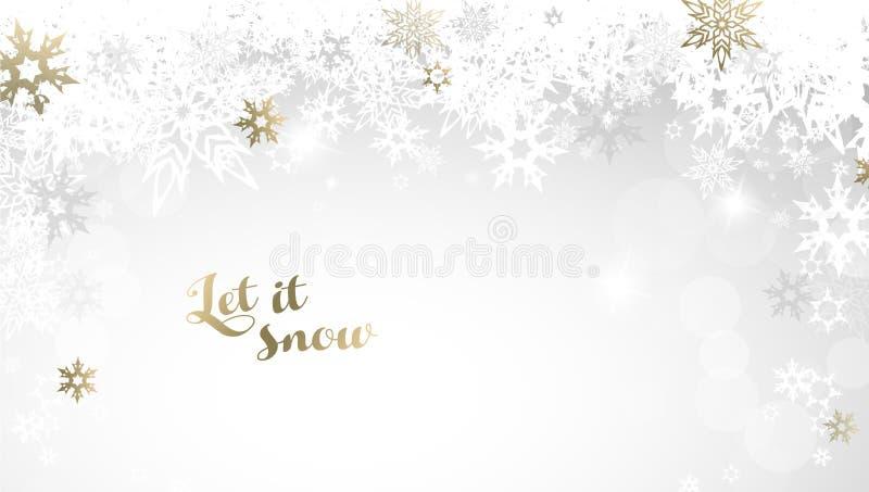 Fundo abstrato com flocos de neve ilustração do vetor