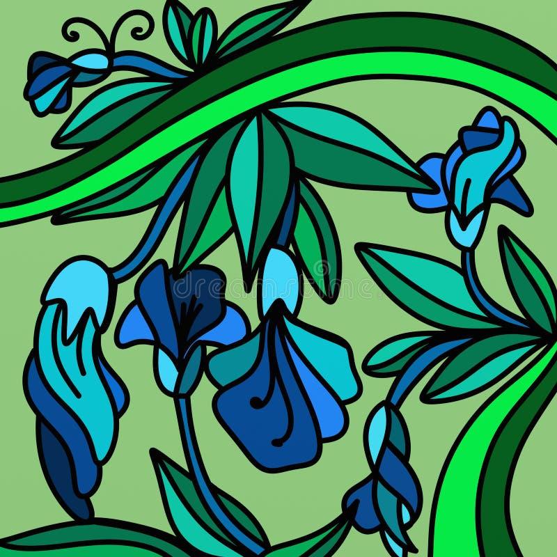 Flores azuis ilustração stock