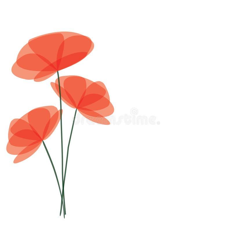 Fundo abstrato com flores vermelhas ilustração do vetor