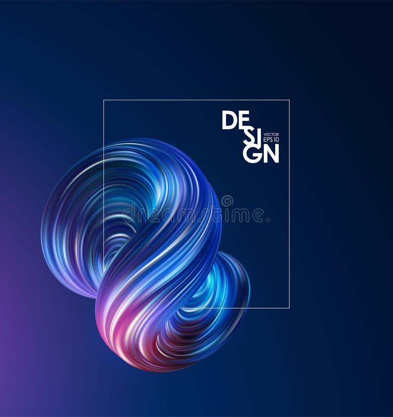 Fundo abstrato com forma e quadro coloridos do líquido do fluxo 3d Projeto na moda ilustração stock