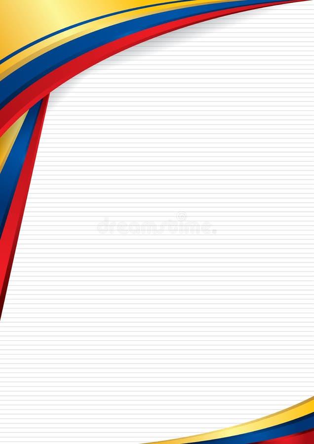 Fundo abstrato com formas com as cores da bandeira de Equador, de Colômbia e de Venezuela, para usar-se como o diploma ou o certi ilustração stock