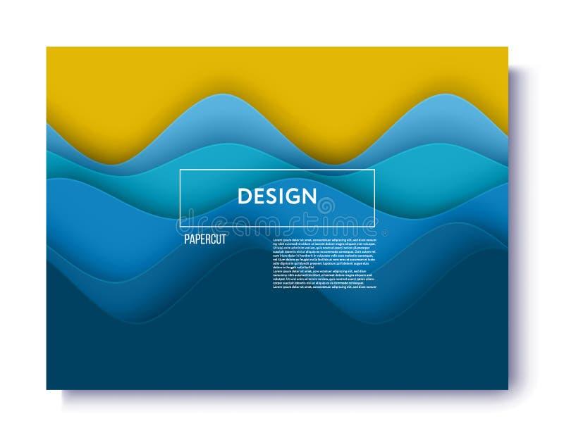 Fundo abstrato com formas do corte do papel fundo azul abstrato do verão do mar e da praia com papel ilustração stock
