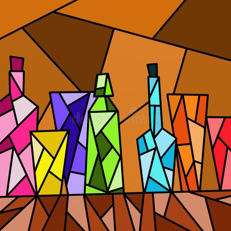 Garrafas coloridas ilustração royalty free