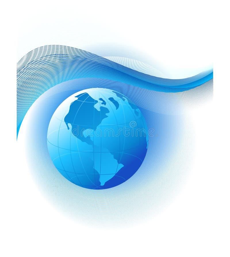Fundo abstrato com globo azul ilustração stock