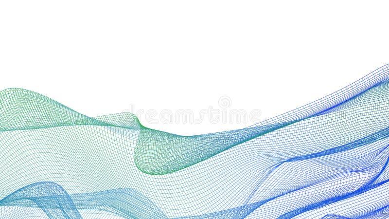 Fundo abstrato com grade ondulada isolado no branco ilustração do vetor