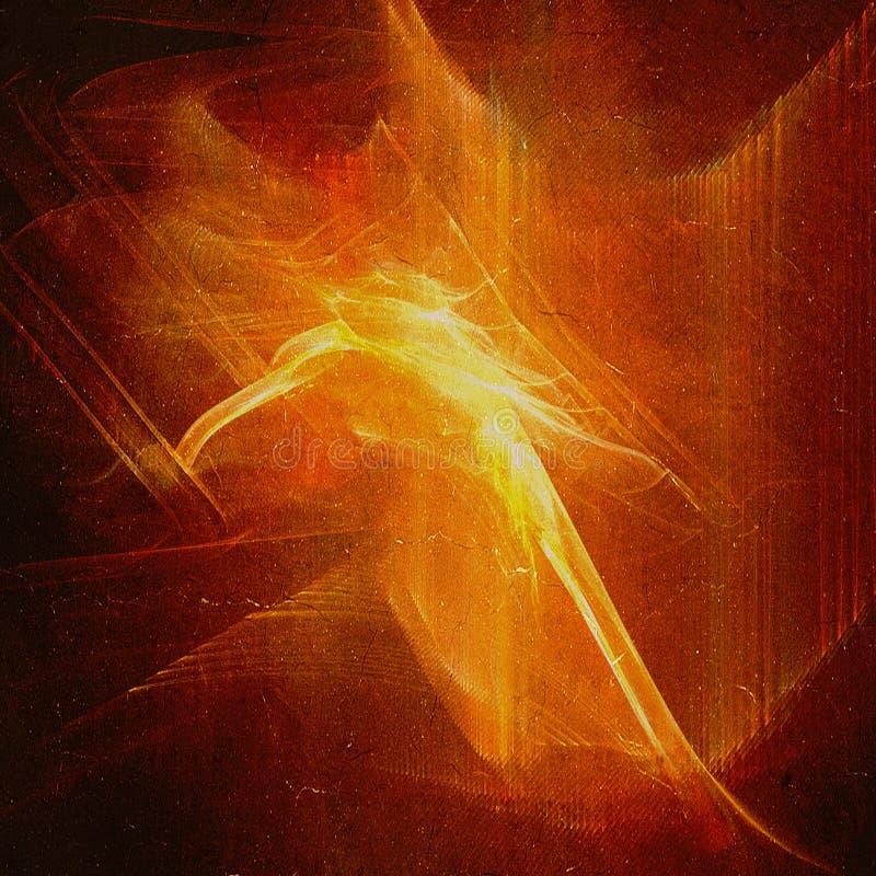 Fundo abstrato com incêndio na textura do grunge ilustração stock