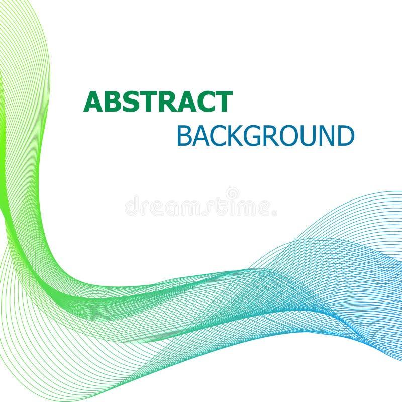 Fundo abstrato com linha verde e azul onda ilustração do vetor
