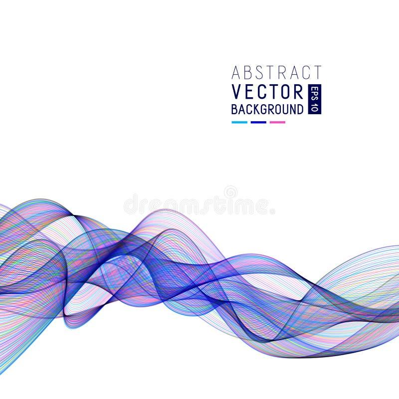 Fundo abstrato com linhas azuis da onda no contexto branco ilustração do vetor