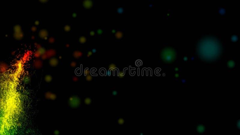 Fundo abstrato com linhas da Aurora da energia luminosa sobre o fundo preto ilustração stock