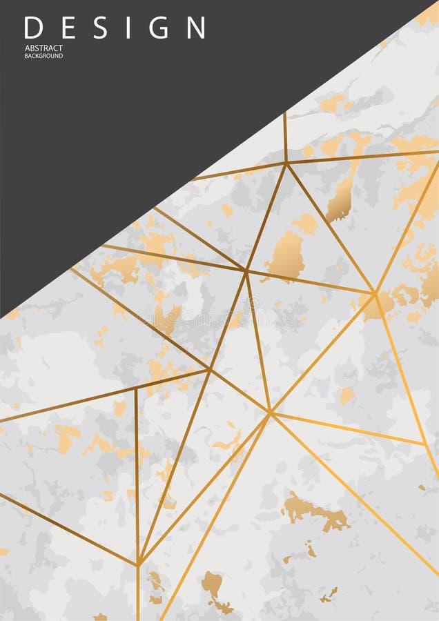 Fundo abstrato com linhas de pedra de mármore douradas da textura e do ouro Projeto da ilustra??o do vetor ilustração royalty free
