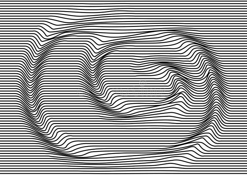 Fundo abstrato com linhas horizontais paralelas pretas, movimento ótico do redemoinho Textura listrada Vetor ilustração royalty free