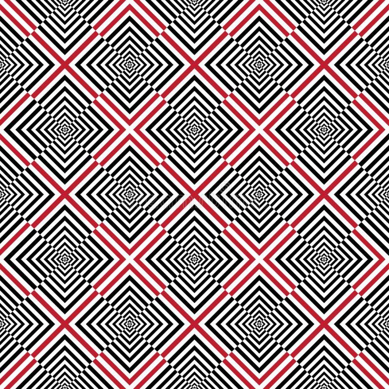 Fundo abstrato com o quadrado - black&white&red ilustração do vetor