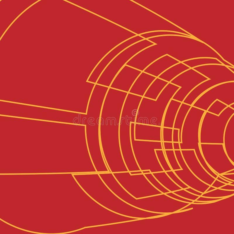 Fundo abstrato com o tubo amarelo dos quadrados Ilustração do vetor ilustração royalty free