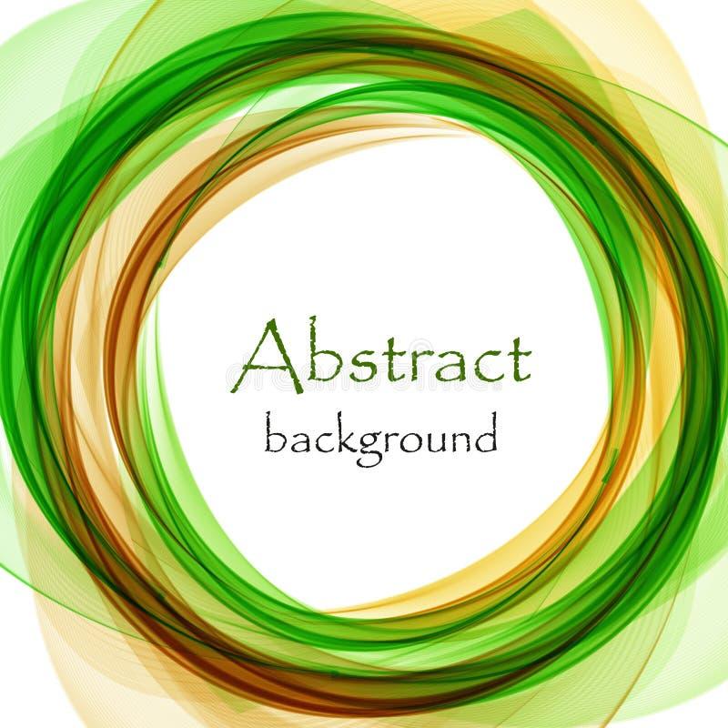 Fundo abstrato com a onda verde e alaranjada sob a forma de um círculo ilustração stock