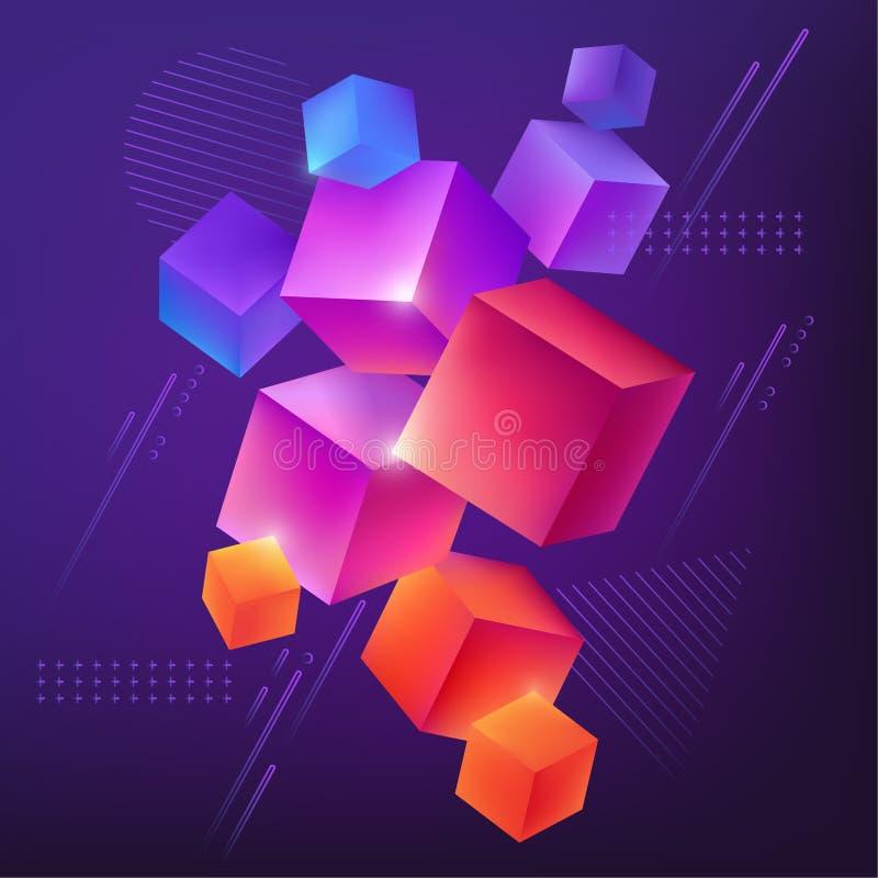 Fundo abstrato com os cubos 3d coloridos ilustração do vetor