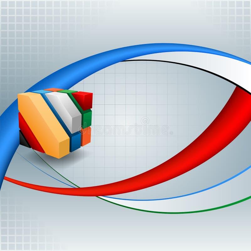 Fundo abstrato com os três cubos das dimensões ilustração stock