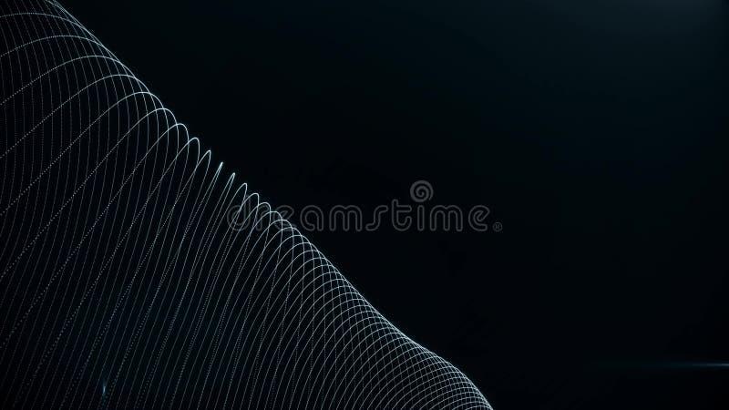 Fundo abstrato com part?culas digitais das ondas em listras de ondula??o Anima??o do loopgood sem emenda para a introdu??o de you ilustração do vetor
