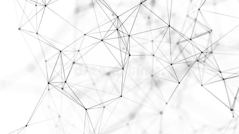 Fundo abstrato com pontos e linhas de conex?o Estrutura da conex?o de rede rendi??o 3d ilustração do vetor