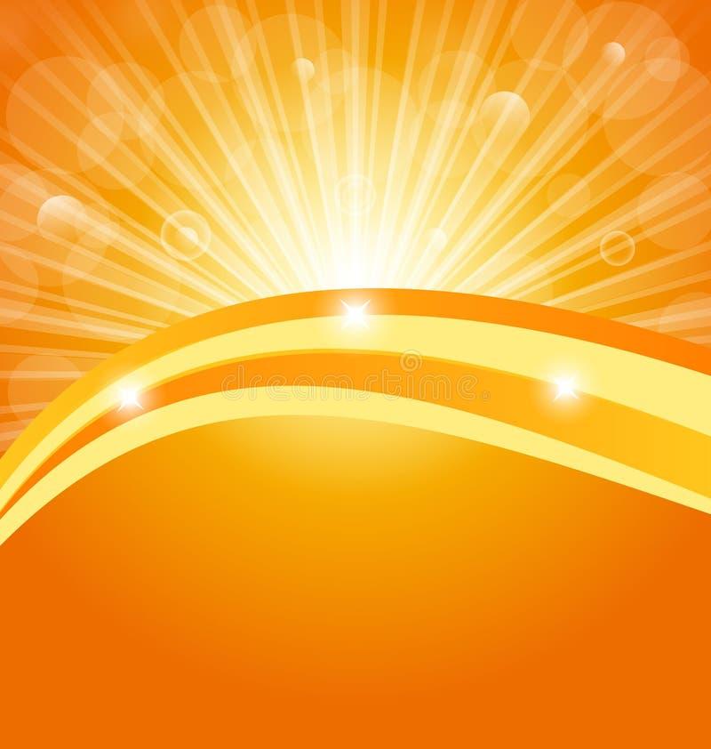 Fundo abstrato com raias claras do sol ilustração royalty free