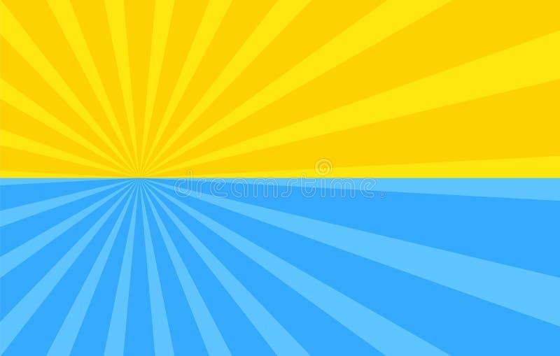 Fundo abstrato com raios dos desenhos animados da cor amarela e azul ilustração royalty free