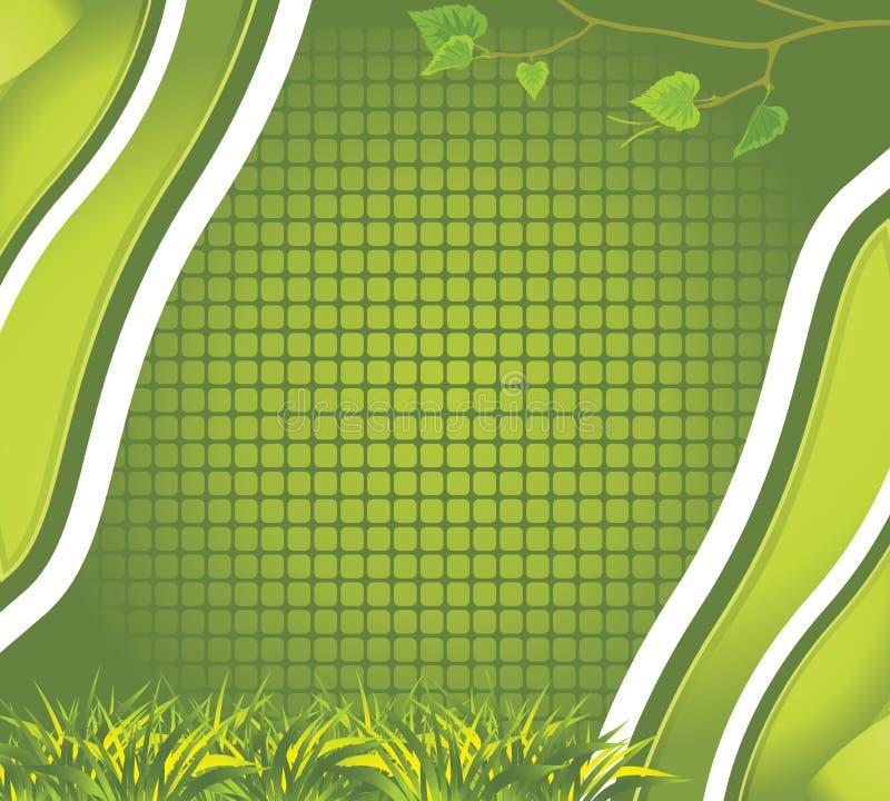 Fundo abstrato com ramo da grama e do vidoeiro ilustração royalty free