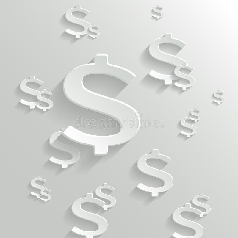 Fundo abstrato com símbolo do dólar americano. ilustração stock