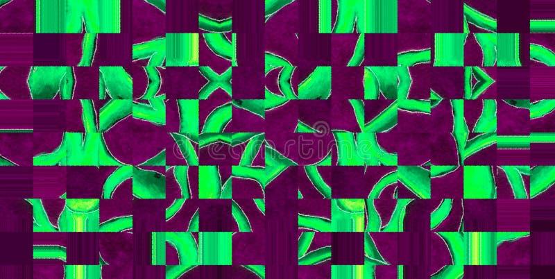 Fundo abstrato com um teste padrão dos quadrados e de ondas quebradas imagem de stock