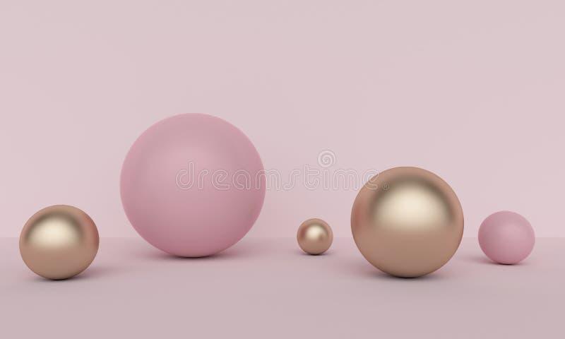 Fundo abstrato cor-de-rosa geométrico com esferas douradas rendi??o 3d ilustração do vetor