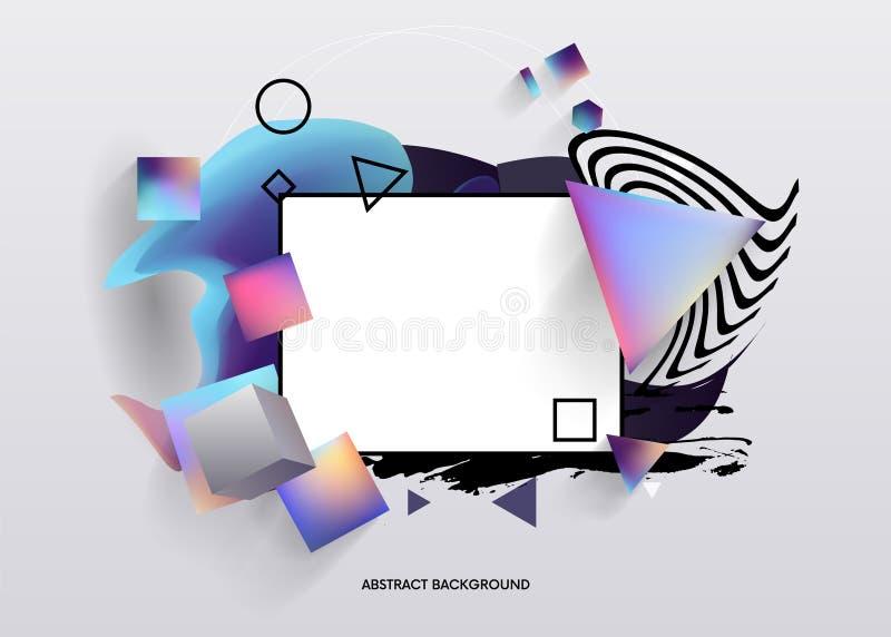 Fundo abstrato criativo Disposição moderna do molde do conceito lugar para o texto, o líquido, o grunge e formas geométricas tend ilustração royalty free