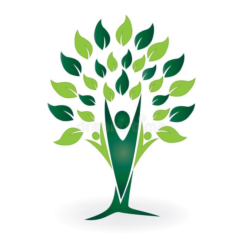 Fundo abstrato criativo do projeto do logotipo da árvore dos povos dos trabalhos de equipa ilustração stock