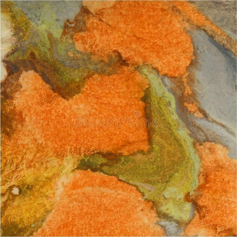 Fundo abstrato da aguarela Alaranjado, verde, marrom outono ilustração stock