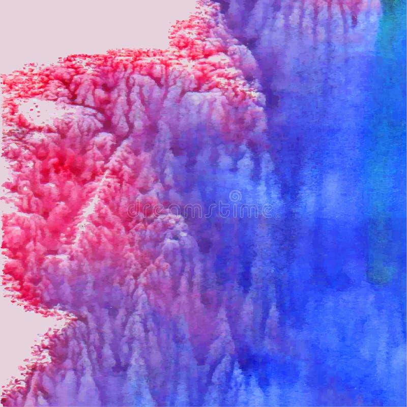 Fundo abstrato da aguarela Cor-de-rosa e azul ilustração do vetor
