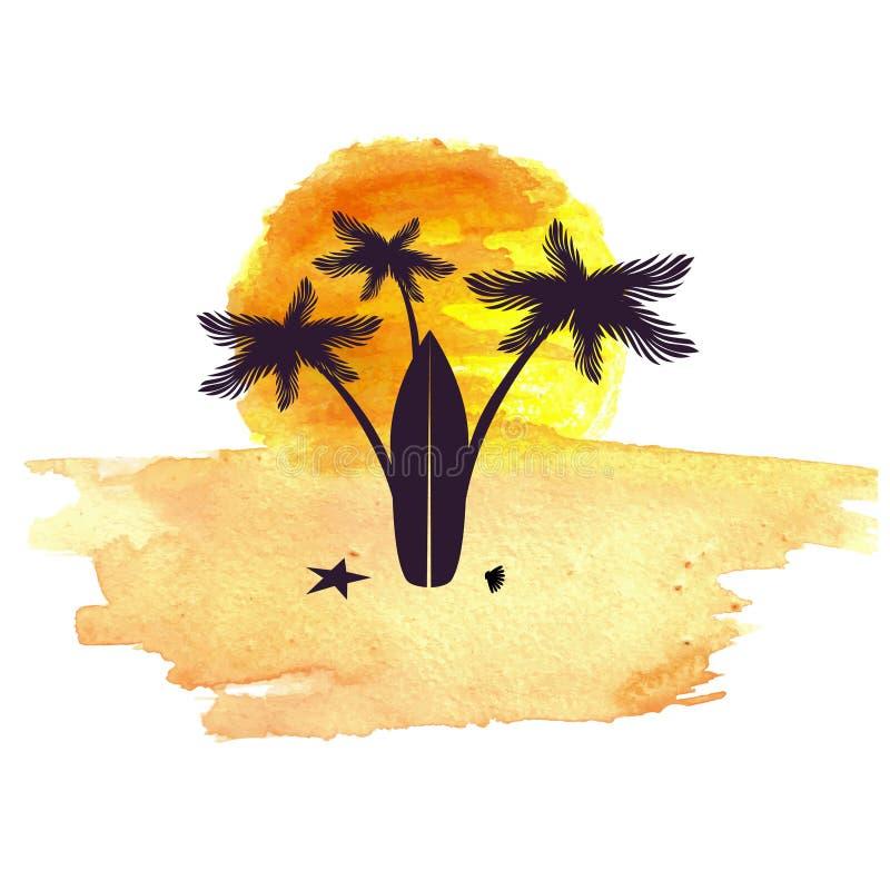 Fundo abstrato da aguarela Tema do verão ilustração stock
