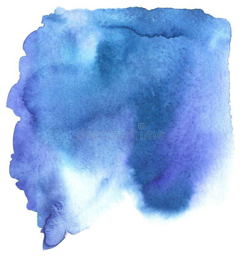 Fundo abstrato da aguarela Um ponto informe de espalhar a pintura azul Ilustra??o desenhado ? m?o da aquarela ilustração do vetor