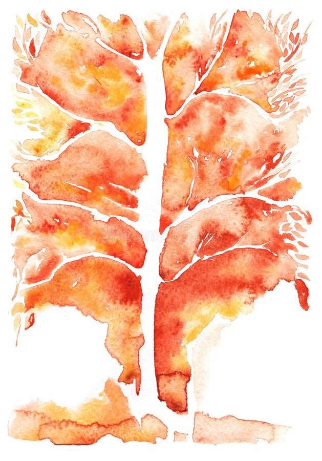 Fundo abstrato da aquarela, árvore de simbolização alaranjada do outono imagem de stock