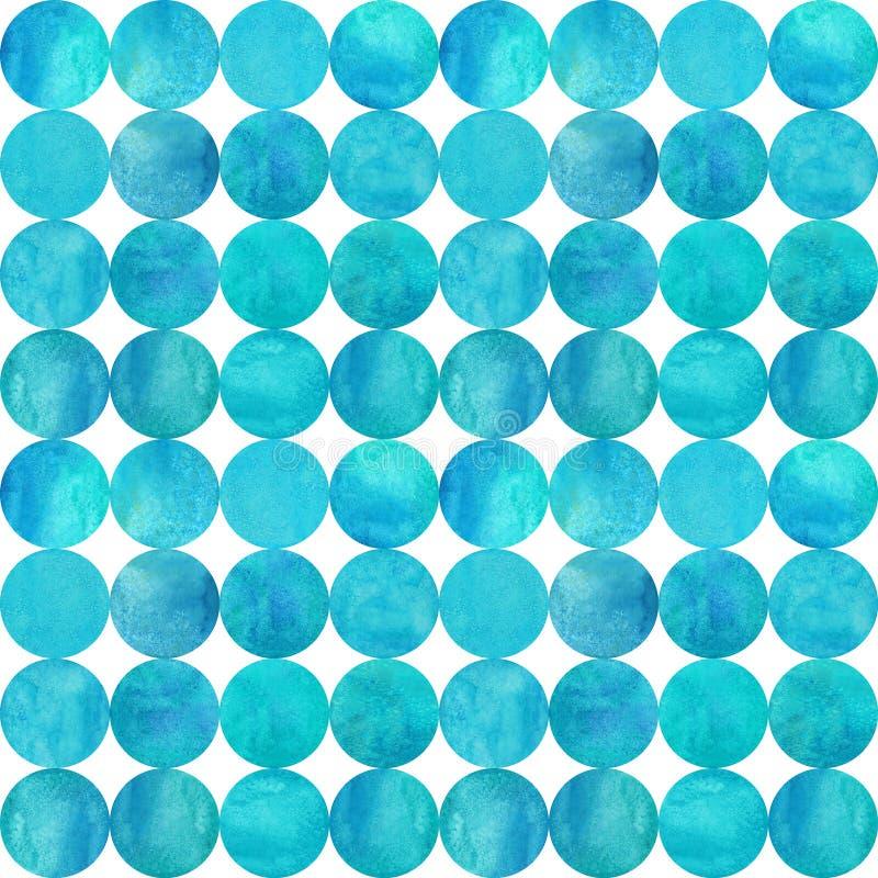 Fundo abstrato da aquarela com círculos azuis da cerceta colorida no branco ilustração royalty free