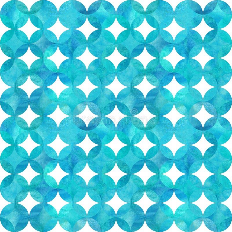 Fundo abstrato da aquarela com círculos de sobreposição do azul da cerceta de turquesa no branco ilustração stock